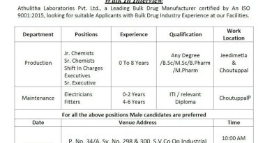 Athulitha Laboratories Pvt Ltd WalkIns for Freshers and Experienced BSc MSc BPharm MPharm Candidates Production Maintenance on 29th Oct 2020