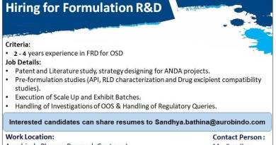 Aurobindo Pharma Recruitment for Formulation R and D urgent Openings