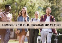 CDRI ADMISSION TO PhD PROGRAMME
