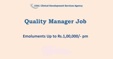 CDSA Emoluments Up to Rs1 lakh pm Career for Quality Manager