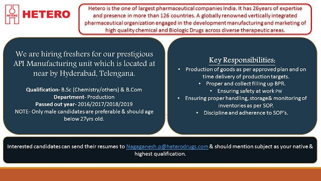 HETERO LABS LIMITED for Freshers Apply Now