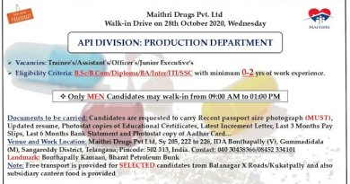 Maithri Drugs Pvt Ltd Walk In Drive for Freshers and Experienced BSc  BCom Diploma Candidates on 28th Oct 2020