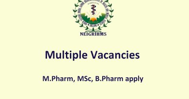 NEIGRIHMS MPharm MSc BPharm Multiple Vacancies