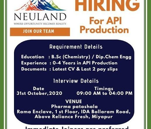 Neuland Laboratories Limited WalkIn Interviews for Freshers and Experienced Candidates on 31st Oct 2020