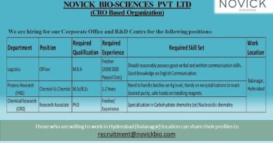 Novick Bio Sciences Pvt Ltd Urgent Requirement of Freshers and Experienced for Logistics Process Research PRD Chemical Research CRD Departments Apply Now