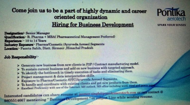 Pontika Aerotech Limited Urgently Opening for Business Development Apply Now