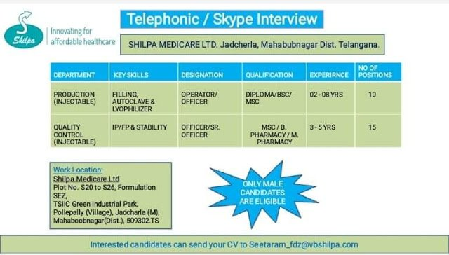 SHILPA MEDICARE LTD Telephonic Skype Interviews for Multiple Positions in Production Quality Control Departments  Apply Now