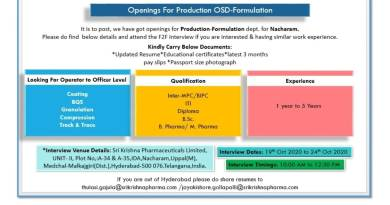 Sri Krishna Pharmaceuticals Limited Walk In Interviews for Production OSD Formulation on 19th to 24th Oct 2020