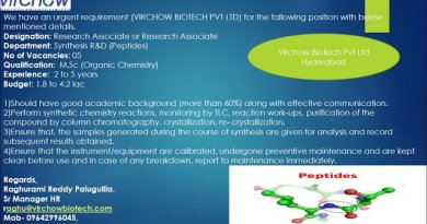 Virchow Biotech Pvt Ltd Urgent Requirement for Synthesis R and D Peptides Apply Now