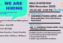 AUROBINDO PHARMA HIRING QA QC Department Walk in Interviews on 8th November 2020