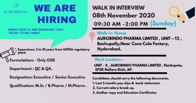 AUROBINDO PHARMA HIRING QA QC Department Walk in Interviews on 8th November 2020