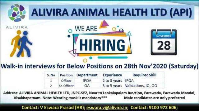 Alivira Animal Health Ltd WalkIn Interviews for IPQA QA Departments on 28th Nov 2020