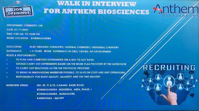 Anthem BioSciences WalkIn Interviews on 21st Nov 2020