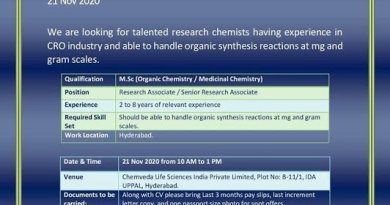 Chemveda Life Sciences WalkIn Drive for CRO R and D Synthesis Department on 21st Nov 2020