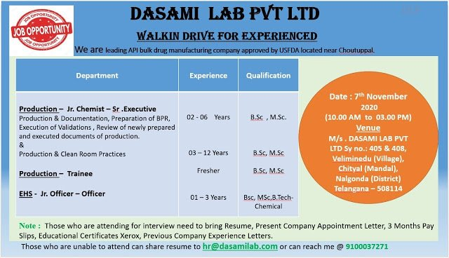 DASAMI LAB PVT LTD Walk In Drive for Freshers and Experienced in Production EHS Departments on 7th Nov 2020