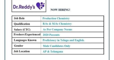 Dr Reddys WalkIn Interview for Freshers on 3rd and 6th Nov 2020