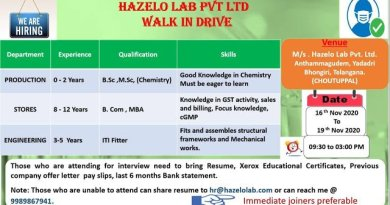 HAZELO LAB PVT LTD WalkIn Drive for Freshers and Experienced in Production Departments on 16th to 19th Nov 2020