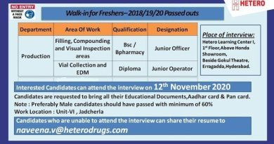 HETERO WalkIn Interviews for Freshers on 12th Nov 2020