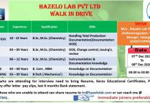 Hazelo lab QA QC Production Stores Engineering Walkin 7th and 8th Dec 2020