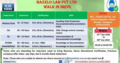 Hazelo lab QA QC Production Stores Engineering Walkin 7th and 8th Dec 2020