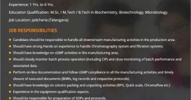 Hetero Biopharma Limited Urgently Looking for Production Downstream Process Apply Now