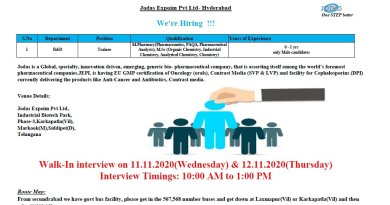 Jodas Expoim Pvt Ltd WalkIn Drive for Freshers and Experienced in R and D Departments on 11th and 12th Nov 2020