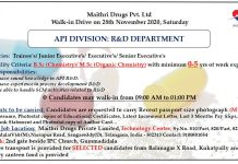 MAITHRI DRUGS PVT Ltd Walk in drive for R and D Department on 28th nov 2020