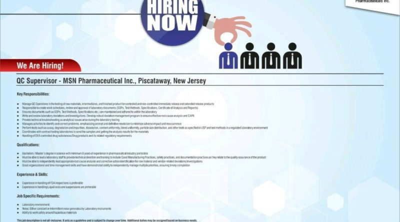 MSN LAB LTD Urgently Opening for Quality Control Officer Apply Now