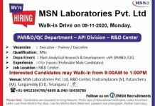 MSN Laboratories Pvt Ltd WalkIn Drive for Freshers and Experienced in PA R and D  QC Department on 9th Nov 2020