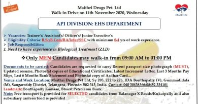 Maithri drugs Pvt Ltd Walk in drive for API division ehs department on 11th nov 2020