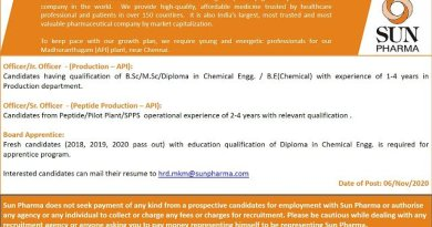 SUN PHARMA LTD Urgent Openings for Freshers and Experienced in Production Peptide Production Board Apprentice Apply Now