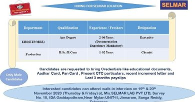 Selmar Lab Pvt Ltd WalkIn Interviews for Production EHS ETP MEE on 19th and 20th Nov 2020