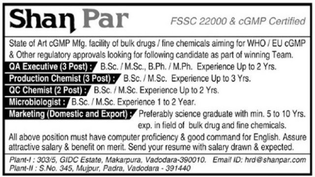 ShanPar Industries Pvt Ltd Urgent Openings for QA QC Production Microbiology Marketing Departments Apply Now