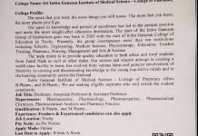 Shri indra ganesan Institute of medical science pharmaceutics M pharma Freshers and Experienced apply