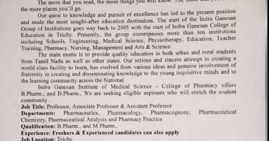 Shri indra ganesan Institute of medical science pharmaceutics M pharma Freshers and Experienced apply