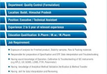 Torrent Pharma Ltd  Urgent Openings for Quality Control Department