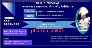 AUROBINDO PHARMA LIMITED Walk in Interviews on 8th dec 2020 for Production Packing department