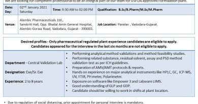 Alembic Pharma Limited PrePlanned Open Interviews for Central Validation Team on 02nd Jan 2020