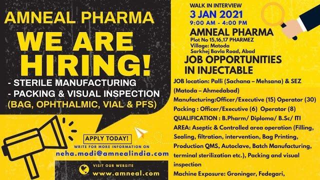 Amneal Pharma WalkIn Interviews for MPharm BPharm  BSc ITI on 3rd Jan 2021