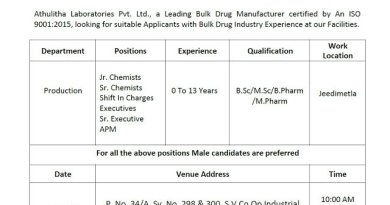 Athulitha Laboratories Pvt Ltd WalkIn Interviews for Freshers and Experienced BPharm MPharm Candidates on 12th Dec 2020