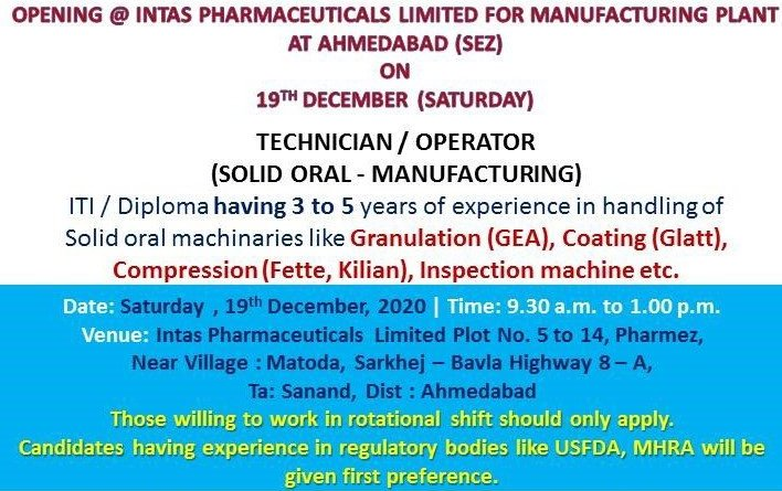 INTAS Pharmaceuticals Ltd Walk in Interviews on 19 dec 2020 for Manufacturing plant