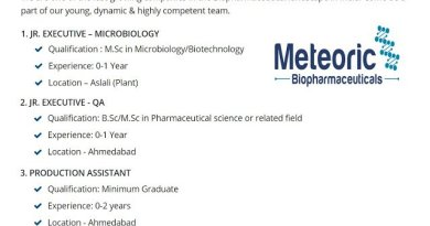 Meteoric Biopharmaceuticals Pvt Ltd Urgent Openings for Freshers and Experienced in Microbiology QA Production Departments Apply Now