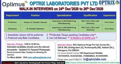 OPTRIX LABORATORIES PVT LTD WalkIn Drive for Freshers and Experienced Candidates on 24th Dec 2020