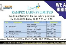 Rampex Labs P Limited WalkIn Interviews for Multiple Positions in Production QA QC R and D Departments on 11th Dec 2020