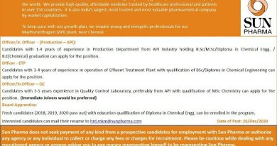 SUN PHARMA LTD Urgent Openings for Freshers and Experienced in Production Quality Control  Board Apprentice  Apply Now