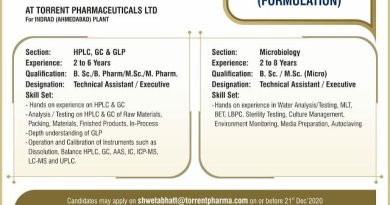 Torrent Pharmaceuticals Ltd Virtual Telephonic Interviews Schedule from 28th to 30th Dec 2020 Apply Now