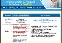 Alkem Laboratories Walk In 31st Jan 2021 for Production Operator Technician