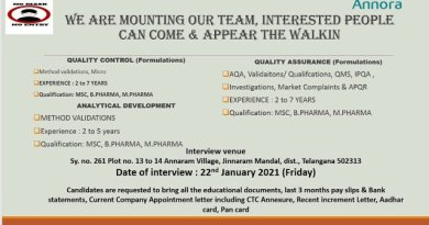 Annora Pharma Ltd WalkIn Interviews for Quality Control Quality Assurance Analytical Development on 22nd Jan 2021