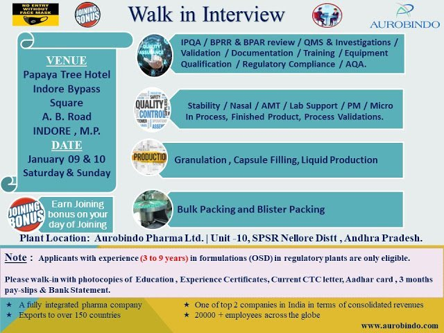 Aurobindo Pharma Ltd WalkIn Interviews for Multiple Positions in QA QC Production Packing on 9th and 10th Jan 2021