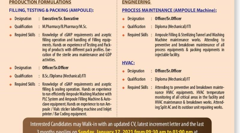 Biological E Limited WalkIn Interviews for Multiple Positions on 17th Jan 2021